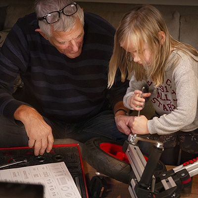 building Infento kits with grandfather photo