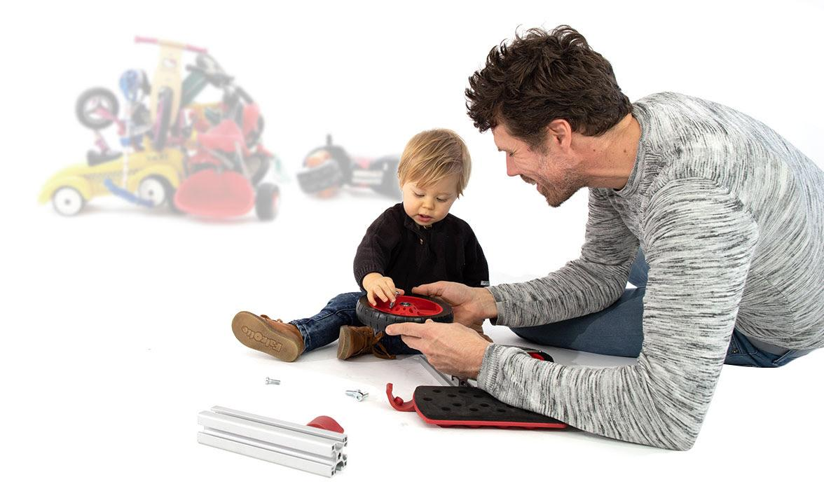 Dad and son playing with infento